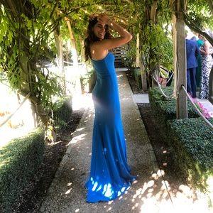 Long evening gown dress, cerulean blue maxi dress